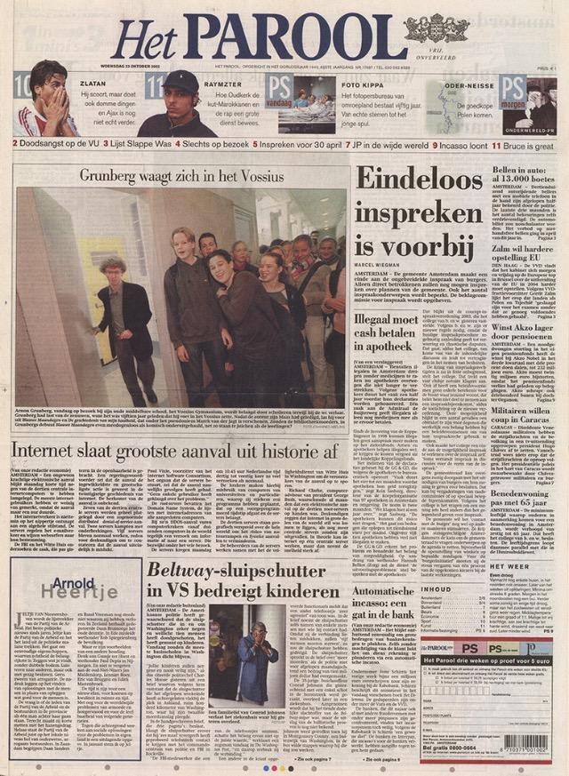 Dalla pubblicazione del romanzo Lunedì Blu, Grunberg comparse regolarmente sul giornale Het Parool.